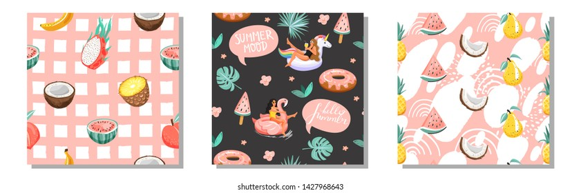 Set of summer seamless pattern. Women floating on swim ring with fruits and abstarct elements. Texture for textile, wrapping paper, packaging etc. Vector.