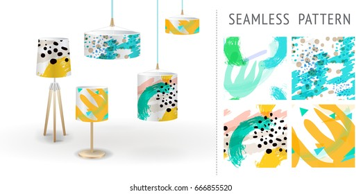 A set of summer seamless unique abstract hand-drawn patterns, demonstrated on textile lampshades. Can be used for embroidery, print or silkscreen on fabric. eps10