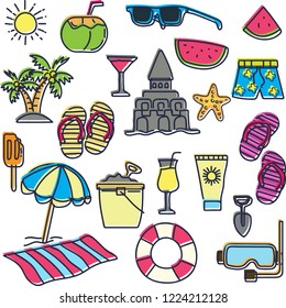 Set of summer sketch vector design icon umbrella, coconut tree, sand, beaches, sand castles, sunglasses, ice cream in doodle style with plain backgrounds. vector illustration