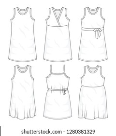 Set of summer sleeveless dresses and  fashion stylish dress collection template, fill in the blank apparal tops bottoms various styles