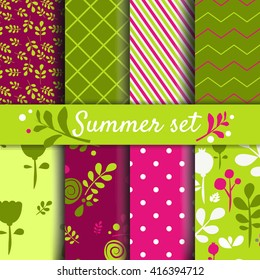 Set of summer - spring backgrounds. Vector image Cute seamless pattern for kids