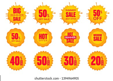 Set of summer sun stickers.  Vector elements for discount tags, promotion  stickers, lables, flyer, banner, button and poster design.