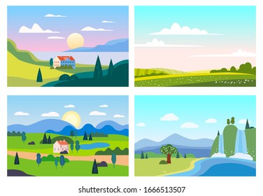 Set Summer sunset seaside landscapes. Sea ocean nature hills fields mountains blue sky clouds sun house farm countryside. Waterfall rocks trees and grass rural land. Flat cartoon trendy style vector