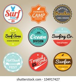 Set of Summer | Surfing Design | Tropical vector set
