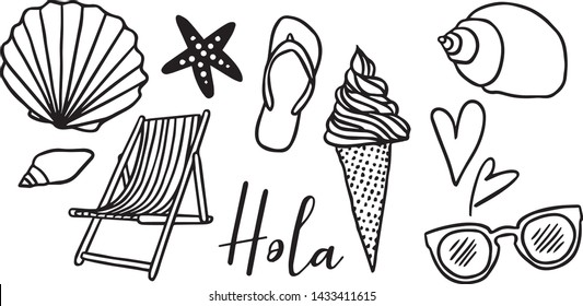 Set of summer symbols, hand drawn illustrations