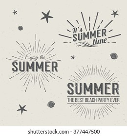 Set of Summer Time logo Templates. Isolated Typographic Design Label. Summer Holidays lettering for invitation, greeting card, prints and posters. Enjoy The Beach party