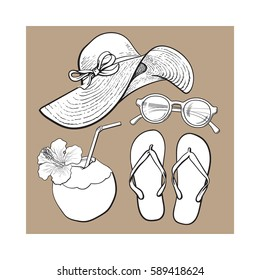 Set of summer time vacation attributes - straw hat, sunglasses, flip flops and coconut drink, sketch style vector illustration isolated on brown background. Set of summer objects, symbols, elements