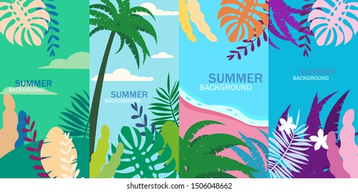 Set summer tropical template backgrounds stories with palms, sky and sunset. Summer placard poster flyer invitation card. Vector isolated trendy flat cartoon style
