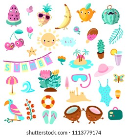 Set of summer and vacation elements. Cute cartoon vector illustration about summer holidays and vacations, summer time and relax. Collection of cartooning summer objects for vacation advertizing