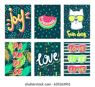 Set Summer vector cards.Trendy design. Vector collection colorful, bright, Acid colors posters. Awesome Illustration in sketch style.Hand drawn vacation greeting card.