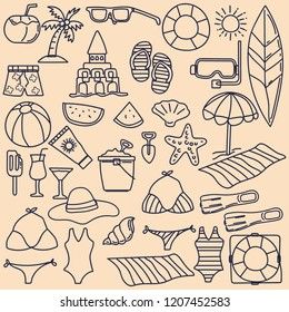 set of Summer vector icons in doodle style with plain backgrounds. vector illustration