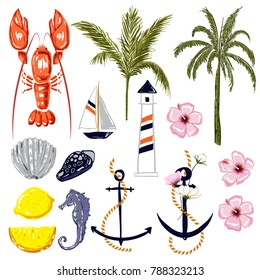 Set of summer vibes red lobster,shell,ship,coconut and palm trees ,lemon,hibiscus flowers in hand drawing style for summer on white background.
