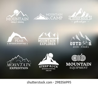 Set of Summer and winter mountain explorer camp badge, logo and label templates. Travel, hiking, climbing style. Outdoor. Best for adventure website, bike stamp, campsite sign. Vector illustration