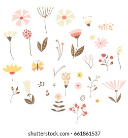 Set of summer/spring vector flowers, leaves and branches. Hand drawn illustration.