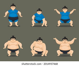 Set of sumo wrestlers in different poses. Male and female characters in cartoon style.
