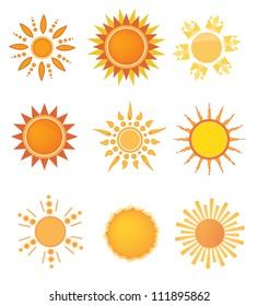 Set of sun design elements