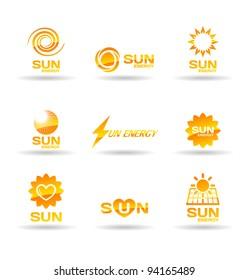 Set of sun energy icons.