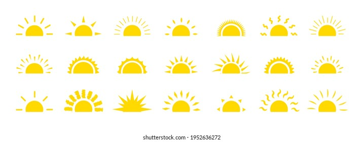 Set of sun flat cartoon icon. Elements for logo of sunrise, sunset. Graphic symbol different shapes, half sun with rays for design app weather. Isolated on white vector illustration eps 10