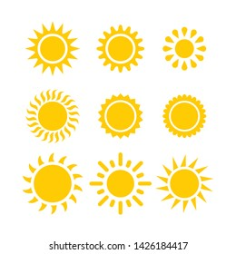 Set of sun icon, Summer icon
