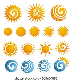 Set of Sun icons and design elements. Sun symbols and logos.