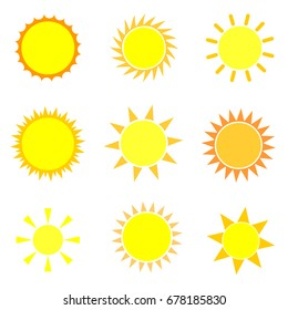 Set sun icons, flat design template, vector illustration