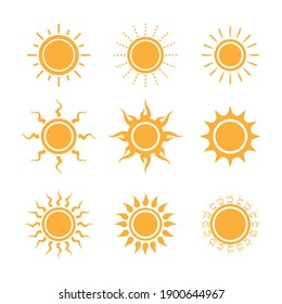 Set of sun icons logo vector in various design. Sun icon silhouette on white isolated background.
