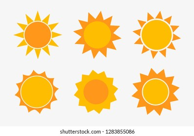 Set of sun icons. Vector illustration.
