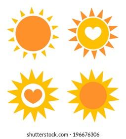 Set of sun icons. Vector illustration