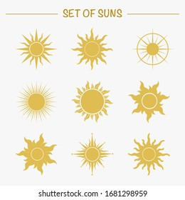 Set of sun images for you design.