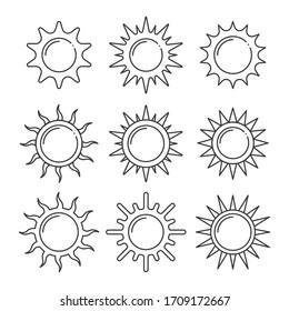 set of sun line icons vector illustration