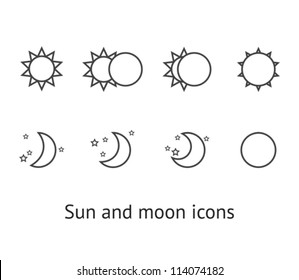 Set of sun and moon icons