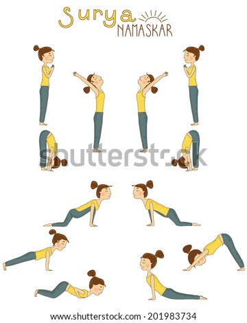 Set Sun Salutation Yoga Exercises Vector Stock Vector Royalty Free
