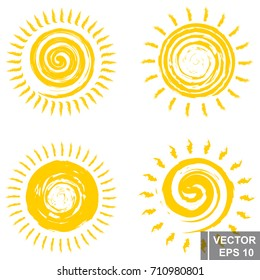 Set of sun. Spiral. Good weather. Yellow. For your design.