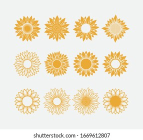 set of sun symbol or sunflower vector logo design template concept isolated on white background
