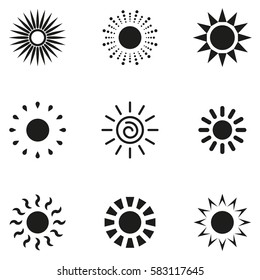 Set of sun vector icon. Star pictograph collection isolated on white.