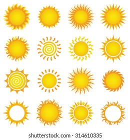 Set of sun vector illustrations