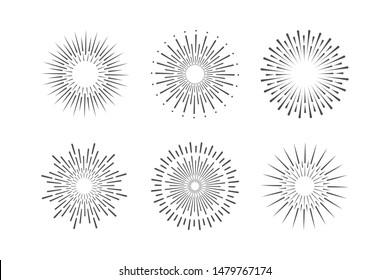 set of sunbrust vintage elements. vector illustrations