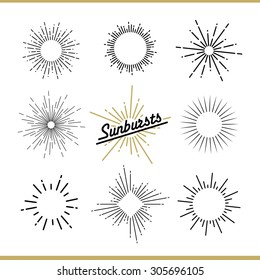 Set of sunburst design elements for badges, logos and labels. Vector illustration
