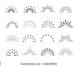 Set of sunburst frames, vintage style, halves, isolated on a white background. Vintage illustration.