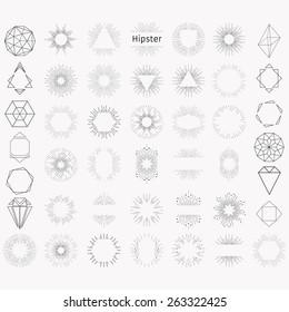 Set of sunburst. Hipster logo. Geometric elements