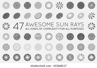 Set of Sunburst Vector Rays of Sun