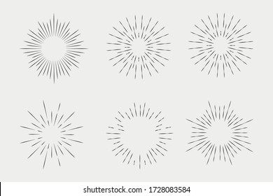 Set of sunbursts, explosion effects, vintage doodles isolated on white background EPS Vector