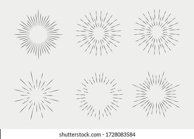 Set of sunbursts, explosion effects, vintage doodles isolated on white background EPS Vector