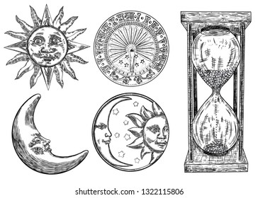 Set of sundial, sun clock, hourglass or sand clock and moon crescent with sun engraving. Hand drawn and isolated. Vector
