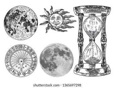 Set of sundial, sun clock, hourglass or sand clock and realistic moon grouped by color textures, with sun engraving. Hand drawn and isolated. Vector