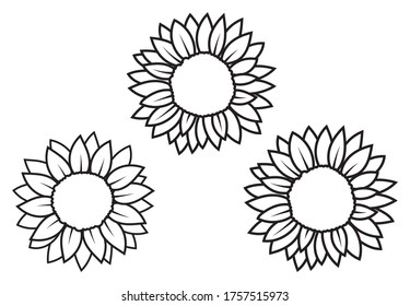 Set of sunflower flowers. Collection of stylized blooming flowers. Black and white illustration on white background. Floral logotype. Tattoo.
