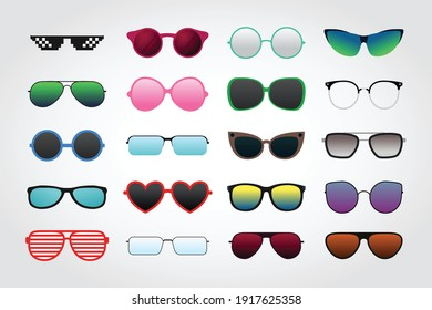 Set of sunglasses collections isolated on white background vector illustration