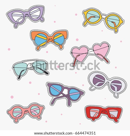 4e6571729f0d Set Sunglasses Fashion Patch Badges Cute Stock Vector (Royalty Free ...