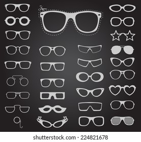 Set of sunglasses and glasses. Vector illustration.
