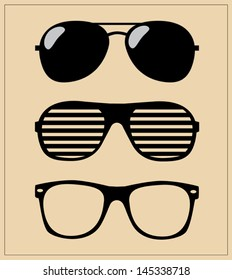 Set of Sunglasses. Vector Illustration Glasses Hipster. Template.